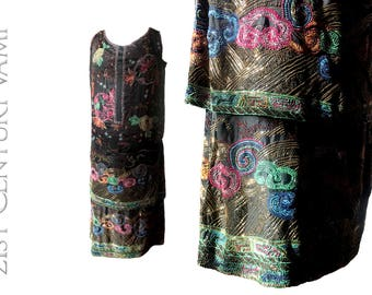 EXCEPTIONAL 1920s Dress. Polychrome & Gold Beadwork, plus Gold Lamé Embroidery on Black Silk. Chinese Jifu Court Robe Style. Chinoiserie.