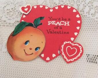 Vintage 1950s Valentine Card Peach Of A Valentine Theme Collectible Paper Ephemera Arts Crafts Scrap Booking
