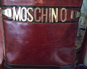 Vintage 1980s Handbag Purse Shoulder Bag MOSCHINO Designer Made In Italy Sliding Gold Tone Letters Oxblood Red Color