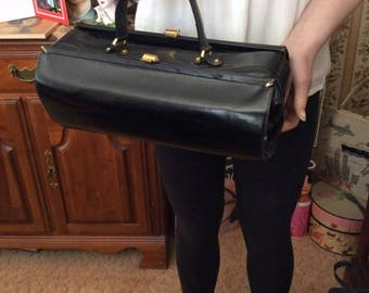 Vintage 1950s Handbag Purse Doctor Satchel Bag Style Black Genuine Leather Unique Style