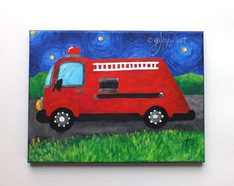 "Art for Kids - Fire Engine, Nightshift - 9""x12"" Acrylic Canvas Painting - Boys Room Nursery Decor - Transportation Art"