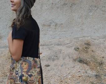 Vintage Egyptian Purse Sphinx Shoulder Bag Carpet Bag Purse with Tassel
