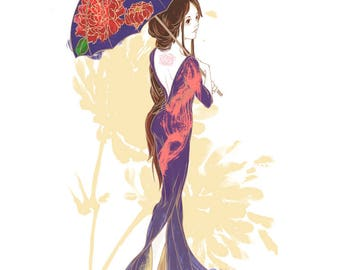 Woman with Flower Umbrella - little print