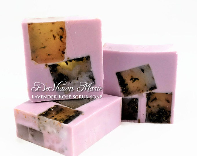 3LB SOAP LOAF- Lavender Rose Scrub Soap - Lavender Soap - Rose Soap - Vegan Soap - Handmade Soap- Soap Gift - Favors