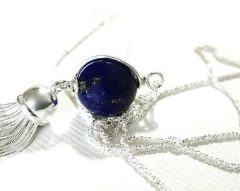 Italian Silver Tassel Lapis Lazuli Necklace Diamond Cut Chain