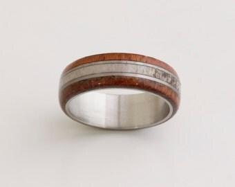 antler ring titanium ring with Jatoba wood  deer antler band mens wedding band wood ring man wood ring
