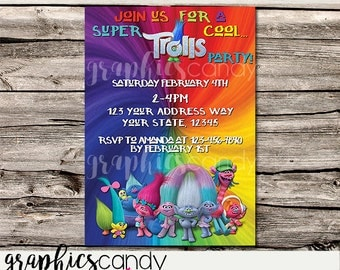 Trolls Invitation - Printable - DIY - Digital File - Shower - Wedding