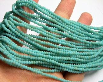 Crystal - rondelle faceted 3mm x  2mm beads - 197 beads - AA quality - matte turquoise - CAA2G152