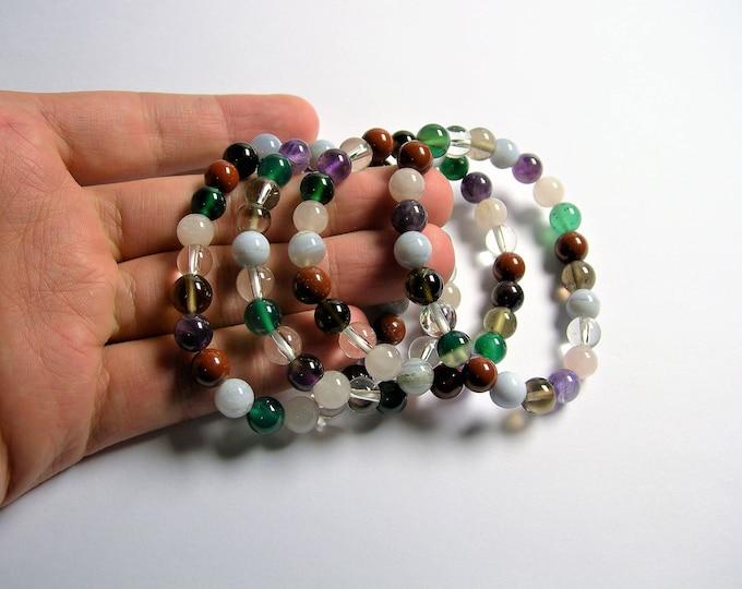 Multi quartz  - 8 mm round beads - 23 beads - 1 set - A quality - HSG78