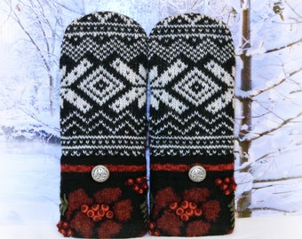 Norwegian Mittens, Black, White & Maroon 100% Felted Wool Women's Recycled Sweater Mittens