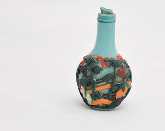 Carved Epoxy glass Polychromatic Snuff Bottle in Turquoise Blue Vitnage Japanese