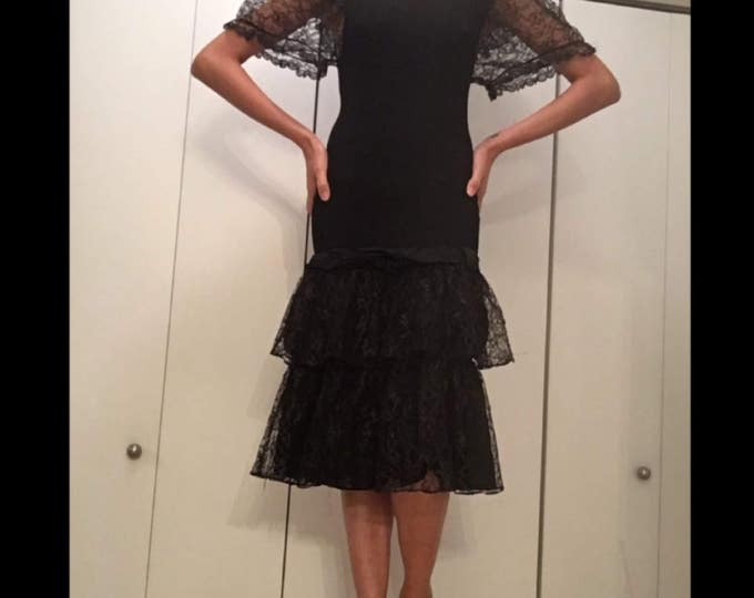 S/M dropped waist black stretch scoop neck puffy lace shoulders sleeves pastel goth 80s VINTAGE dance tiered ruffle Lbd dress avant garde