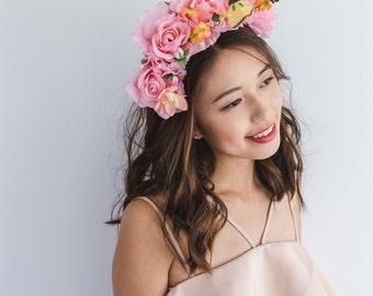 SALE - pink floral crown - flower crown, statement floral headband, wedding headpiece, butterfly, festival headband