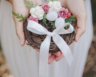 birds nest ring bearer pillow - rustic wedding flower ring bearer pillow, birds nest ring pillow, woodland wedding, forest wedding
