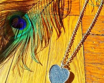 Denim Necklace- 25x25 mm Denim Heart Pendant on chain