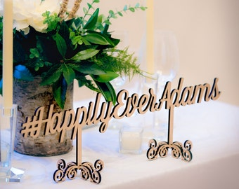 Wedding Hashtag Sign Personalized Freestanding Wedding Decor, Wooden Words Hashtag Sign, Name in Wood (Item - HTF100)
