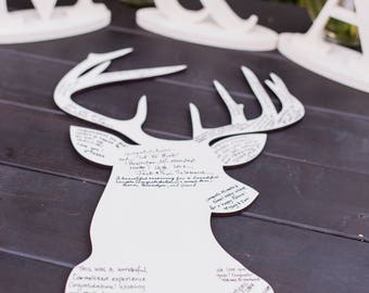 Wedding Guest Book Deer Silhouette, DIY or Painted Guestbook for Wedding, Birthday Party or Event, Country Wedding Guestbook (Item - GBK100)