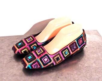 vintage beaded shoes - 1980s Beverly Feldman colorful beaded heels size 8.5