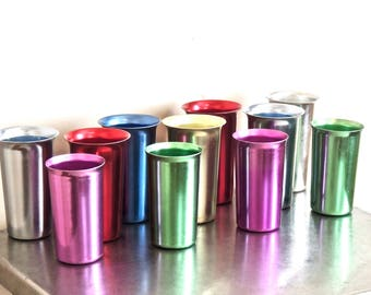 vintage aluminum glasses - 1950s-60s mid century colored aluminum drinking glasses set of 11