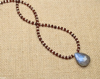 Labradorite and Garnet Necklace, Hill Tribe Beads, Garnet Jewelry, January Birthstone, Gemstone Necklace