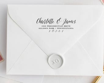 Calligraphy Return Address Stamp, Calligraphy Address Stamp, Personalized Address Stamp, Wedding Stamp, Custom Address Stamp, Wedding Gift