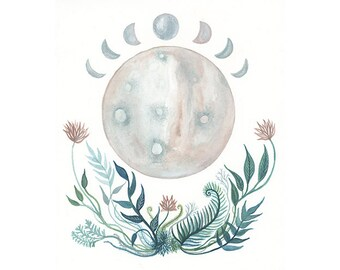 Studio Sale // Moon Art // Moon Painting // Lunar Botanicals