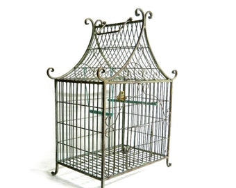 Antique Victorian French Wrought Iron Birdcage - Art Nouveau - Vintage Chinoiserie Decorative Metal Bird Cage - Large 24""