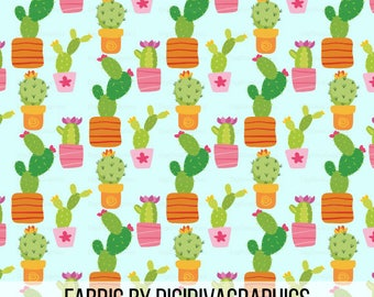 Cactus Fabric By The Yard - Colorful Potted Plant Cacti Whimsical Cute Print in Yard & Fat Quarter