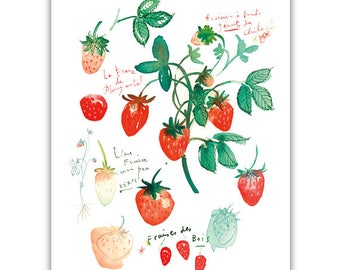 Strawberry print, Kitchen art, Watercolor strawberry painting, Fruit print, Red wall decor, Botanical print, Food poster, Kitchen wall art