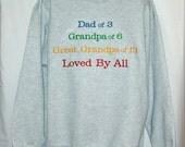 Dad, Grandpa, Great Grandpa Sweatshirt, Custom Grandparent Gift, Personalize With Any Three Names, Papa, Pops, No Shipping Fee, AGFT 946