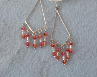 Red and white chandelier earrings free shipping!
