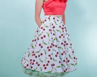 Rockabilly Cherry Flared Skirt
