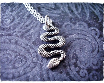Silver Snake Necklace - Sterling Silver Snake Charm on a Delicate Sterling Silver Cable Chain or Charm Only