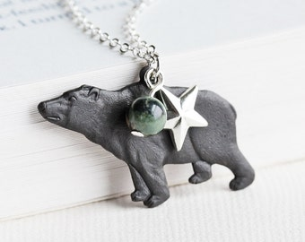 Oxidized Black Brass Bear Charm Necklace on Silver Plated Chain, Rustic Jewelry
