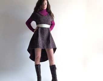 Wool dress, hi low dress, winter dress, women clothing, purple dress, day dress, tunic dress, aline dress, pinafore, loose dress, boho dress
