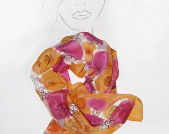 The garden- HANDPAINTED SILK SCARF