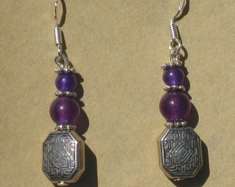 Earring with Purple Jade and Amethyst Beads
