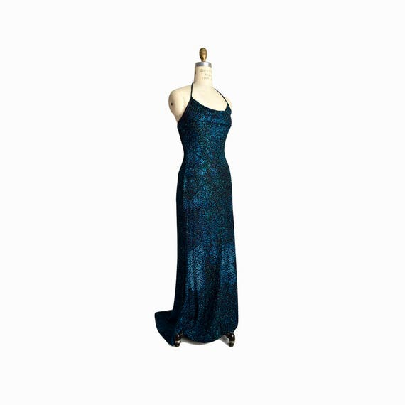 Vintage 90s Glitter Maxi Dress is Deep Teal Blue  / Halter Dress / Blue Leopard Print Dress - women's small