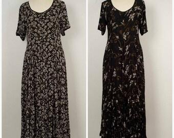 long black floral grunge Indian crinkled gauze reversible short sleeve scoop neck Nostalgia maxi dress 90s vintage large