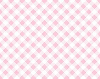 Pink Gingham Fabric - Sew Cherry 2 Fabric - Lori Holt Fabric - Sew Cherry Fabric By The 1/2 Yard