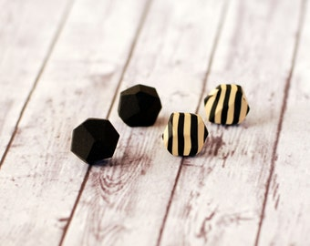 Pentagon studs, Diamond shape posts, Geometric studs, Gift to friend, Casual earrings, Set of post earrings - black and beige black stripes
