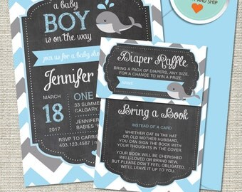 Whale Baby Shower Invitation, Whale Invitation, Whale, Light Blue, Gray (Only), Chevron | Printed