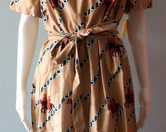 1970s Vintage cowboy and horse cotton dress