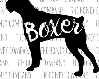 Boxer SVG PNG DXF Dog Breed Lover Instant Download Silhouette Cricut Cut Files Cutting Machine Vector File