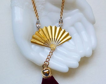 Fan Dance // Vintage Gold Fan Statement Necklace with Burgundy Wine Tassel and 1950s Clear Crystals, Burlesque Art Deco Bohemian Gypsy Pinup