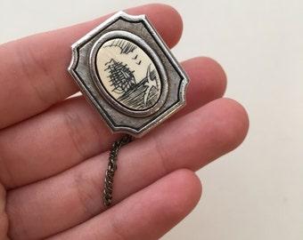 Tiny Silver Ship Cabochon Brooch / Sailing Pin / Tie Pin / Bone Engraved Pin / Seagull Pin / Framed Brooch / Nautical