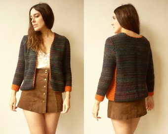 Vintage Hand Knitted Colour Block Wool Cardigan