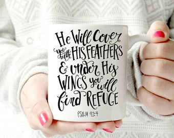 He Will Cover You With His Feathers Mug - inspirational bible verse. resurrection.Christian Quote. Psalms 91