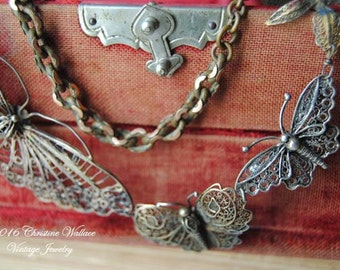 Butterfly Bib--Antique Silver Filigree Butterfly Flower Watch Chain NECKLACE