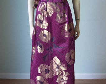 RESERVED 1961 Saks Fifth Ave Custom Couture Silk Satin Gown with Gold Lame' Flowers  / Sculptural and Elegant / Red Carpet Worthy / Small